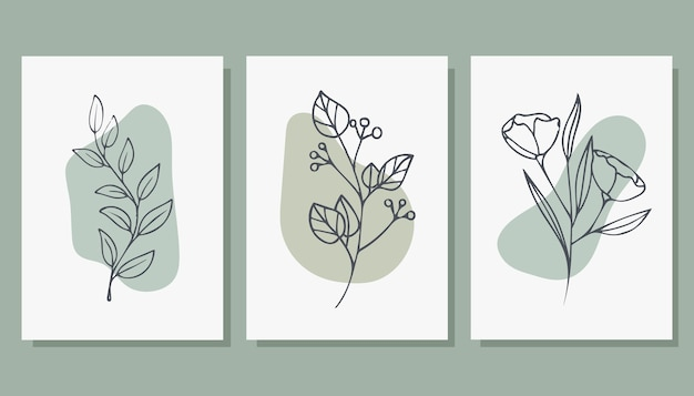 Set von trendigen plakaten mit pflanzen.