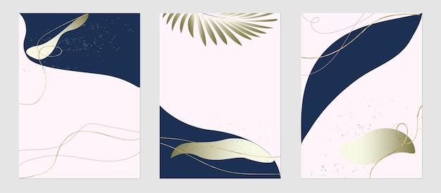 Set von trendigen vorlagen abstrakte formen und botanische elemente goldlinie pflanzen minimalismus