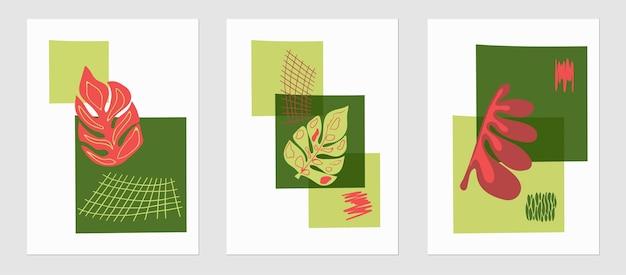 Set von trendigen vorlagen abstrakte formen und botanische elemente palmblattpflanzen minimalismus