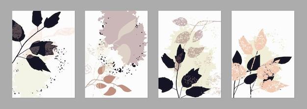 Set von trendigen vorlagen abstrakte formen und botanische elemente pastellfarben minimalismus