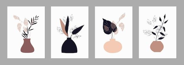 Set von trendigen vorlagen abstrakte formen und botanische elemente vasen minimalismus