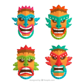 Set von tribal tiki masken in flachen design