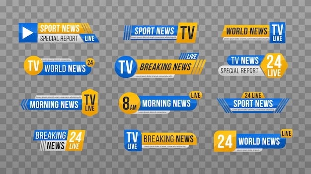 Set von tv-nachrichtenleiste. nachrichtenbanner für tv-streaming. bannertext für aktuelle nachrichten.
