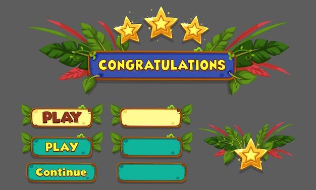 Set von ui-elementen für 2d-spiele und apps, game ui part 5