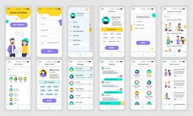 Set von ui, ux, gui-bildschirmen app für soziales netzwerk flach