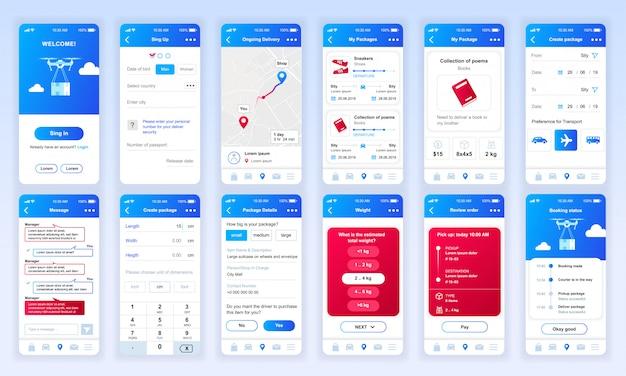 Set von ui-, ux-, gui-bildschirmen lieferung app flach