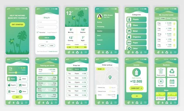 Set von ui, ux, gui-bildschirmen ökologie-app flach