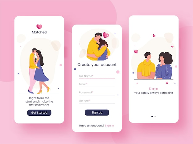 Set von ui-, ux-, gui-bildschirmen perfekt abgestimmte oder dating-app einschließlich konto erstellen