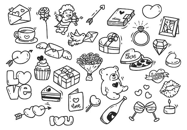 Set von valentines doodle isoliert auf weißem hintergrund