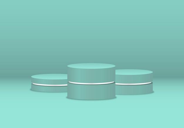 Set von vector bunten podestpodesten oder plattformen als hintergrund für die produktpräsentation
