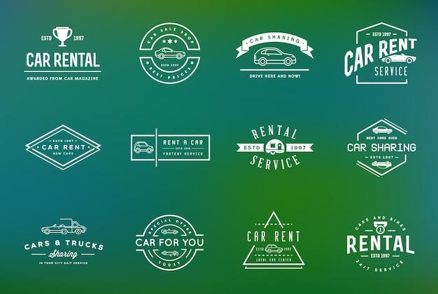 Set von vector car rental service-elementen kann als logo oder symbol in premium-qualität verwendet werden