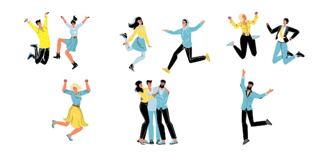 Set von vektor-cartoon-flachfiguren freunde glücklich umarmen, freuen sich zusammen, freundliches team junger leute feiert erfolg, springt glücklich-kommunikation, emotionen, freundschaft, soziales konzept