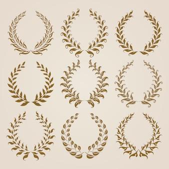 Set von vektor-gold-lorbeerkränzen.