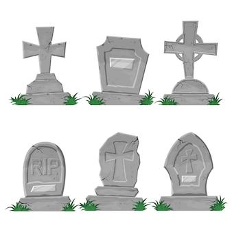 Set von vektor-grabsteinen im cartoon-stil für halloween-feiertage