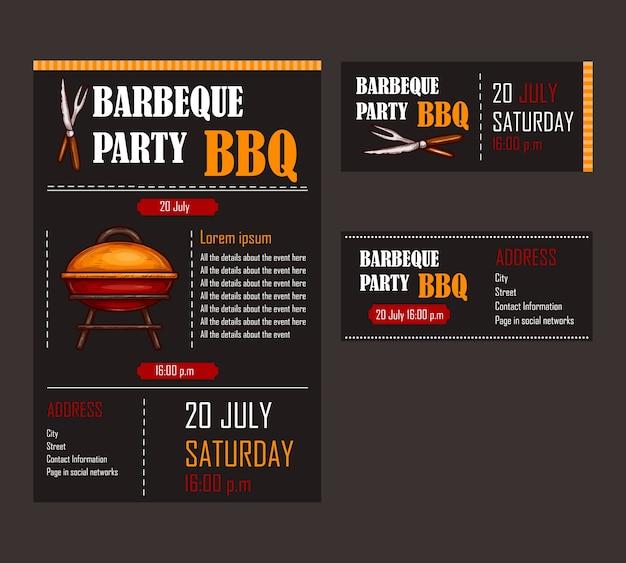 Set von vektor-illustrationen von einem bbq menü vorlage, einladungskarte auf einem barbecue, geschenkgutschein