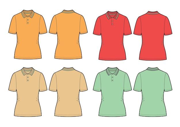 Set von vektor-polohemden orange rot beige und mint polos