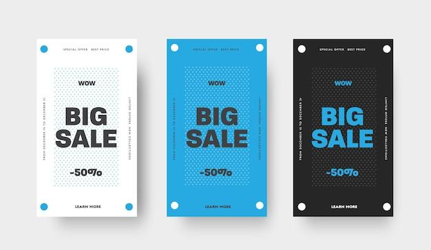 Set von vektorbannern für großen verkauf, sonderangebote, weiße, blaue und schwarze vorlage mit kreis und text. design für die veröffentlichung in mobilen anwendungen. sozialen medien