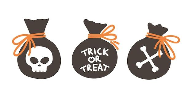 Set von vektorsäcken mit süßigkeiten für süßes oder saures. traditionelle halloween-party-elemente. gruselige taschen mit totenkopf- und knochenkollektion. samhain-dessertpackungen. herbstferien-design