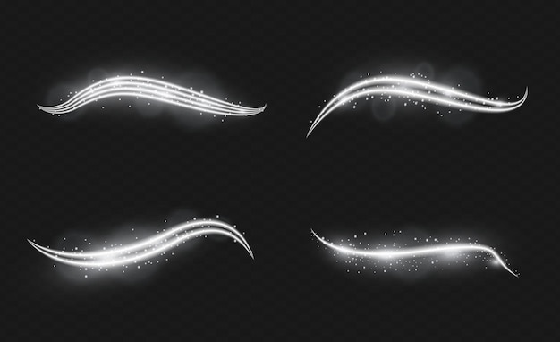 Set von vektortransparenten blitzlichteffekten sonnenlicht speziallinse helle goldene blitze und blendungen