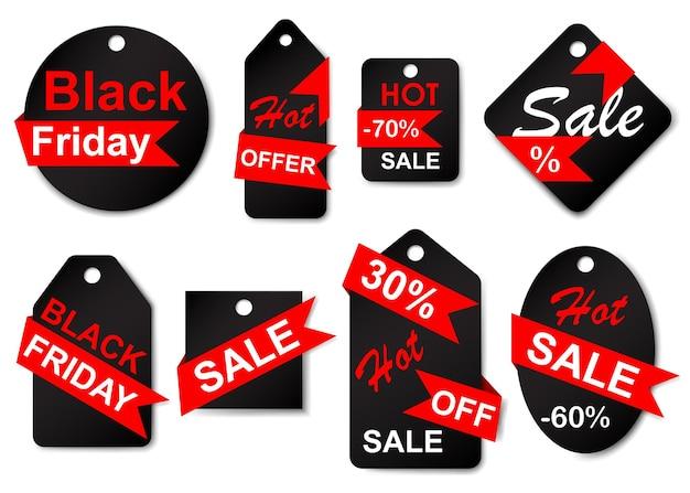 Set von verkaufsetiketten und tags in schwarzen farben mit roten bändern