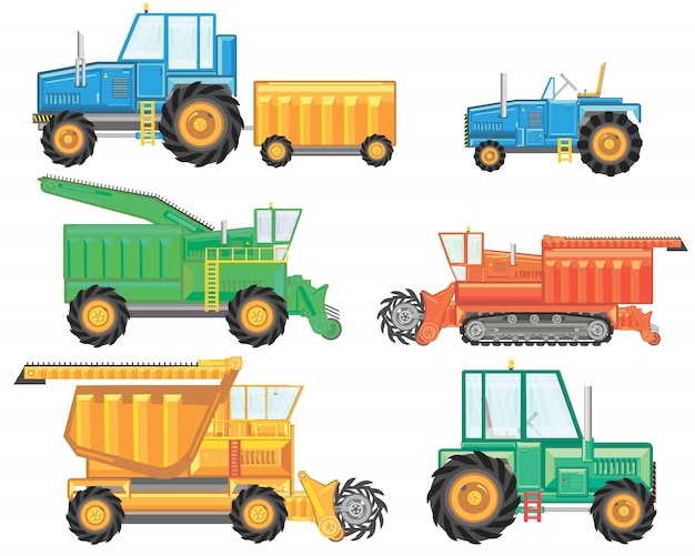 Set von verschiedenen arten von landwirtschaftlichen fahrzeugen und maschinen erntemaschinen, mähdrescher und bagger.