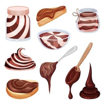 Set von verschiedenen arten von schokoladenpaste