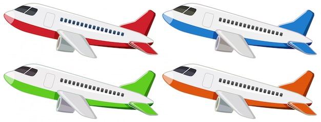 Set von verschiedenen flugzeugen