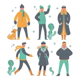 Set von verschiedenen leuten in gemütlichen kleidern im winter