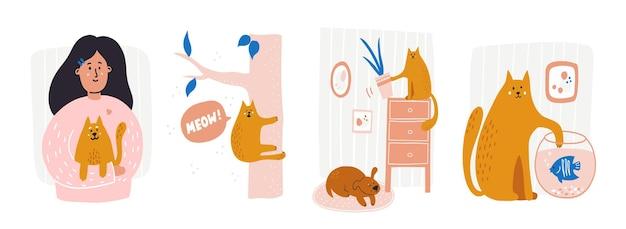 Set von verschiedenen lustigen und niedlichen haustierversicherungskonzepten niedliche cartoon-illustrationen mit frecher katze