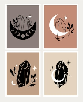 Set von verschiedenen magischen kristallillustrationen im boho-stil auf hellbraunem hintergrund