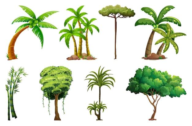 Set von verschiedenen pflanzen und bäumen