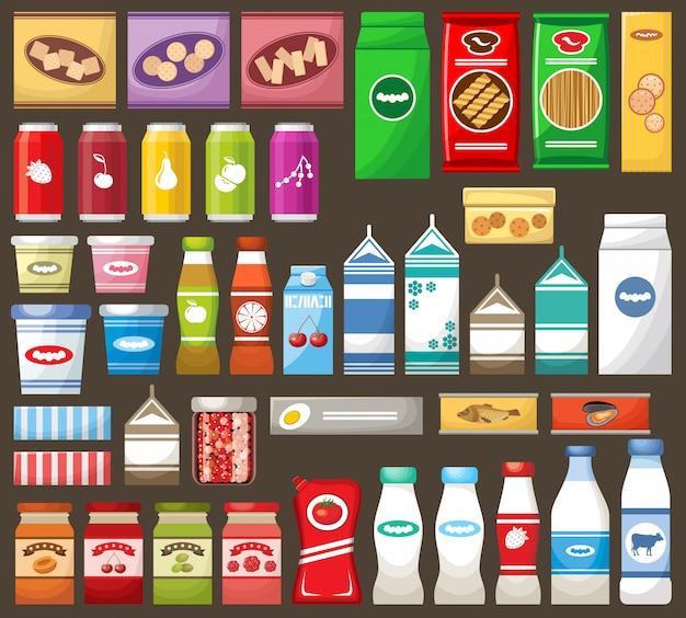 Set von verschiedenen produkten.