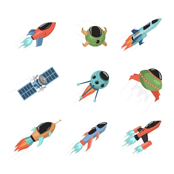 Set von verschiedenen raumschiffen und satelliten