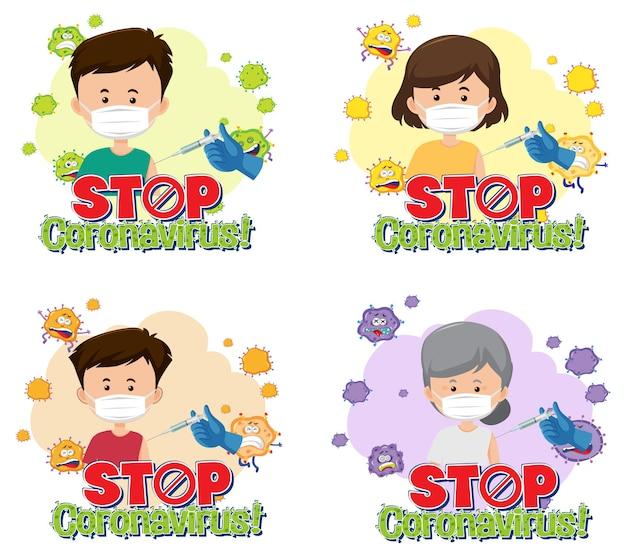 Set von verschiedenen stopp-coronavirus-bannern mit patienten
