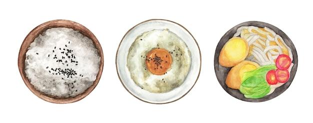 Set von verschiedenen tellern mit lebensmitteln. draufsicht. aquarellillustration.