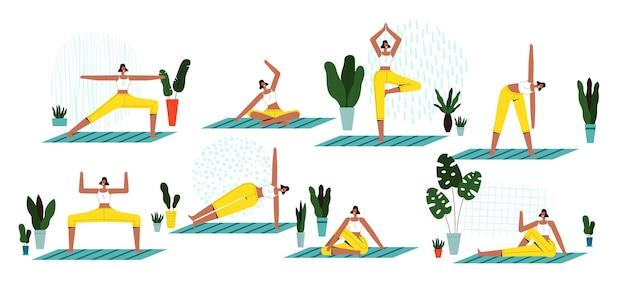 Set von verschiedenen yoga-posen. eine junge frau praktiziert yoga auf einem teppich.