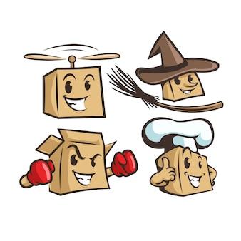 Set von vielen boxen in verschiedenen berufen. zauberer, koch, boxer, fliegende box. charakter. maskottchen
