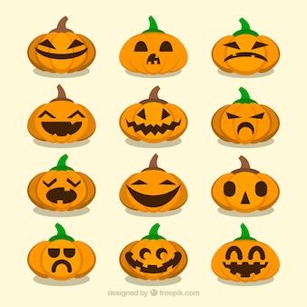 Set von vielen verschiedenen emotionalen ausdrücken von halloween-kürbis