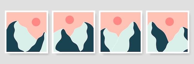 Set von vier abstrakten ästhetischen mitte des jahrhunderts moderne landschaft zeitgenössisches boho-design. minimale und natürliche illustrationen wandbilder