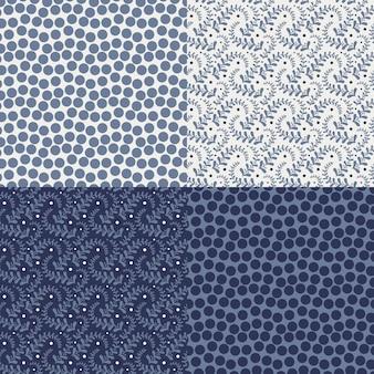 Set von vier bunten blumenmustern (nahtloser tiling).