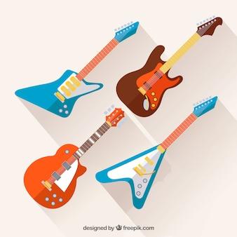 Set von vier farbigen e-gitarren in flachem design