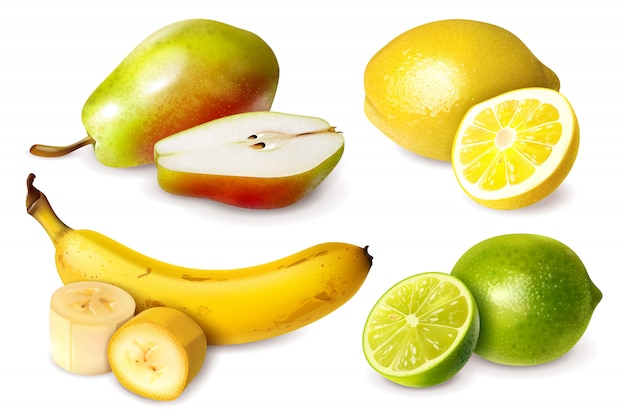 Set von vier früchten im realistischen stil