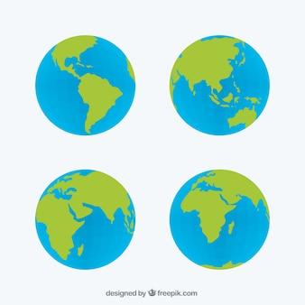 Set von vier globen