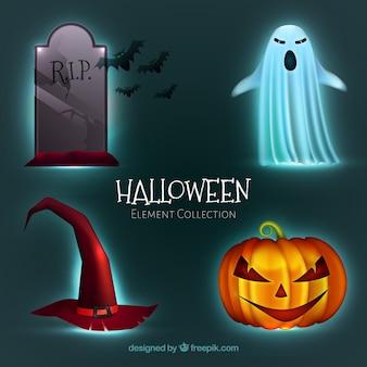Set von vier halloween-elementen