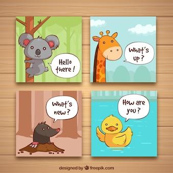 Set von vier karten mit schönen tieren