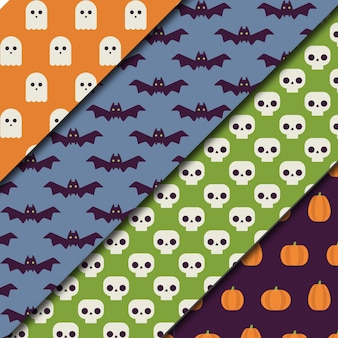 Set von vier muster mit halloween-elemente in flachen stil