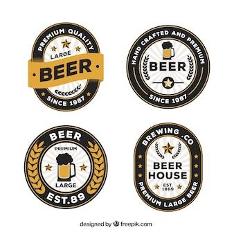Set von vier premium-bier etiketten