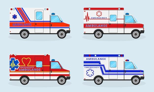 Set von vier rettungswagen. seitenansicht des krankenwagenautos. rettungsfahrzeug.