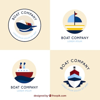 Set von vier runden logos mit flachen booten