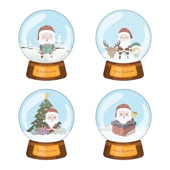 Set von vier schönen weihnachtsschneegloben